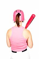 Female baseball player 16_17 with bat, rear view, studio shot