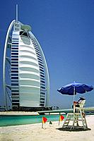 Lifeguard on duty near the Burj Al-Arab, 7 Star luxury hotel, Jumeirah Beach, Dubai, United Arab Emirates