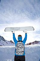 Man holding ski board