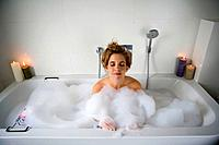 Woman in bathtub, relaxing (thumbnail)