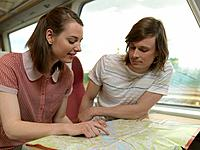 Young couple on train (thumbnail)