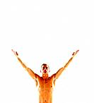 Mature man arms outstretched