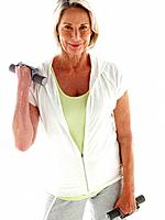 Mature woman with hand weights