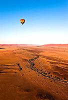 Hot air balloon over Naukluft Park, Namibia, Africa