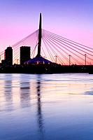 Esplanade Riel Bridge over the Red River, Winnipeg, Manitoba, Canada