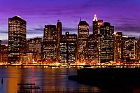 Lower Manhattan skyline at twilight, New York City, New York, USA