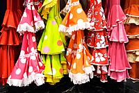 Typical Andalusian flamenco dresses, Seville, Andalucia, Spain, Europe