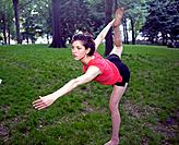 Woman doing exercise in a park