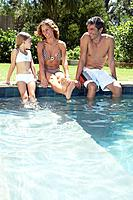 Family by a pool