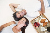 Couple relaxing over breakfast