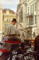 Czech Republic, Prague, man riding horse and carriage, side view