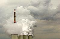 Coal_fired power plant, smoke stack and emissions, Chvaletice, Czech Republic