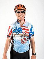 Male cyclist smiling, portrait