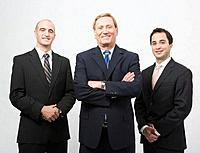 Three business men, smiling, portrait, upper half