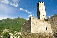 Switzerland, Ticino, Bellinzona, Castelgrande, low angle view