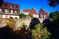 Houses along the Weiss River in Kaysersberg, Elsass, France