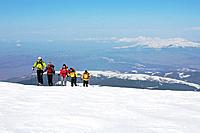 A group of people on a ski tour to the top of Popova Kapa in the Rila Mountains, Europe, Bulgaria, MR