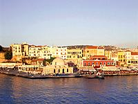 Janitscharen mosque in the evening light, Venetian harbour, Chania, Crete, Greece