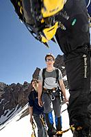 Mountaineers with crampons, Atlas Mountains, Morocco, Toubkal Region, North Africa