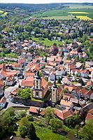Aerial photo of Burghaun with Catholic and Protestant Church, Burghaun, Hesse, Germany