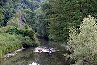 Canoe paddlers on the river, Fraenkische Saale, near Bad Kissingen, Rhoen, Bavaria, Germany