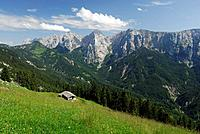 Alpine hut of Hinterkaiserfeldenalm with view to Wilder Kaiser range, Kaiser range, Tyrol, Austria