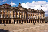 Palace in classicl style with sculpture showing battle of Clavijo in the gable, Pazo de Raxoi, Pazo de Rajoy, Praza do Obradoiro, Santiago de Composte...