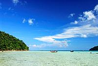 Boats in shallow water close to Surin Islands Marine National Park, headquarter, Ko Surin, Phang Nga, Thailand