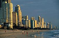Beach and highrise buildings at Surfers Paradise, Gold Coast, Queensland, Australia