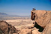 Hikers enjoying the view, Gebel Banat, Sinai, Egypt, Africa