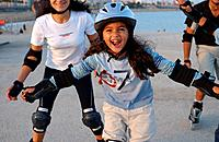 Children on inline skates, Barcelona, Spain