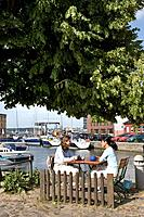 Cafe, Harbour, Stralsund, Baltic Sea, Mecklenburg_Western Pomerania, Germany