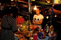 Night market with food stalls on Khao San Road in the evening, Bangkok Thailand