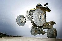 Suzuki Quad jumping through the air, Test Grounds, Suzuki Offroad Camp, Valencia, Spain