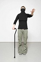 Woman with walking stick