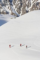 An elevated view of people skiing