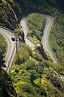 Twisty mountainous road near Fajã da Ovelha, Funchal, Ihla da Madeira, Portugal