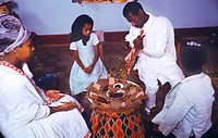 Gondar Ethiopia Wolde Emanuel Family at Home at Easter with Food