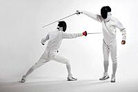 Two men fencing (thumbnail)