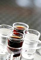 Carbonated drinks in shot glasses