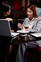Businesswomen having discussion over dessert (thumbnail)