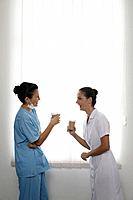 Nurses chatting during break time