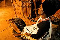 People Xhosa woman drummer  Lesedi Cultural Village near Johannesburg South Africa Date: 08 05 2004 Ref: ZB538_115263_0093 COMPULSORY CREDIT: World Pi...