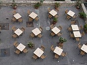 High angle view of empty tables and chairs in a restaurant, Malta