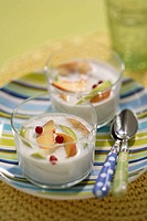 Fromage blanc, nectarine and apple verrine