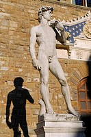 Statue of David by Michelangelo and his shadow in Signoria Square Florence