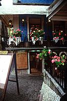 portugal bar and restaurant empty with flowers decoration
