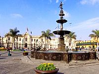 peru lima historical palace for government with a big fountain square