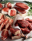 Selection of raw meat