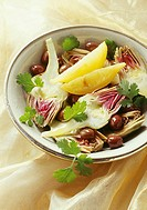 Artichoke and confit lemon salad